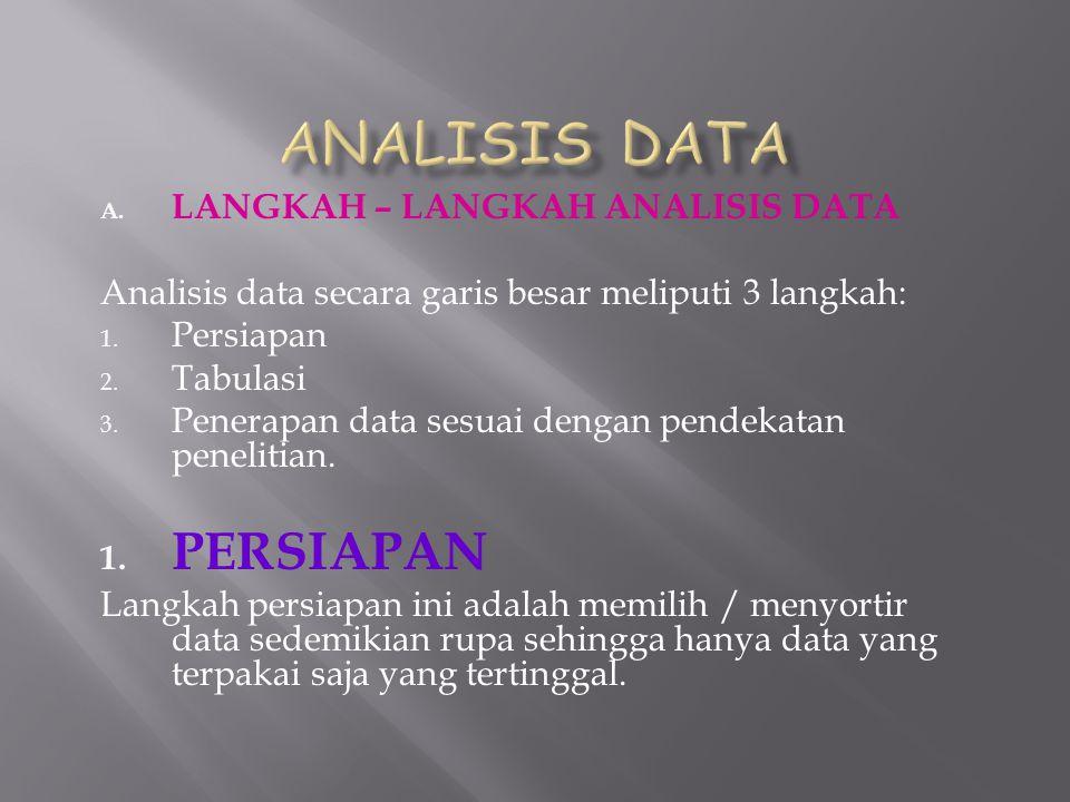 A. LANGKAH – LANGKAH ANALISIS DATA Analisis data secara garis besar meliputi 3 langkah: 1. Persiapan 2. Tabulasi 3. Penerapan data sesuai dengan pende