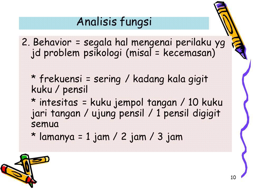 10 Analisis fungsi 2. Behavior = segala hal mengenai perilaku yg jd problem psikologi (misal = kecemasan) * frekuensi = sering / kadang kala gigit kuk