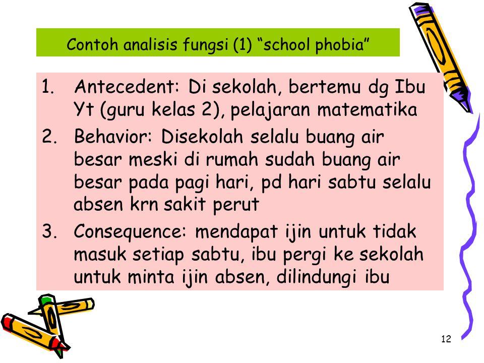 """12 Contoh analisis fungsi (1) """"school phobia"""" 1.Antecedent: Di sekolah, bertemu dg Ibu Yt (guru kelas 2), pelajaran matematika 2.Behavior: Disekolah s"""