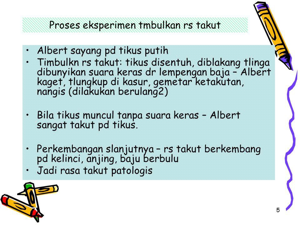 5 Proses eksperimen tmbulkan rs takut Albert sayang pd tikus putih Timbulkn rs takut: tikus disentuh, diblakang tlinga dibunyikan suara keras dr lempe