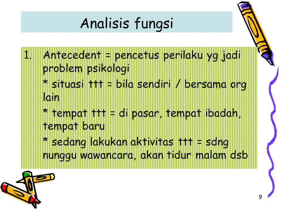 9 Analisis fungsi 1.Antecedent = pencetus perilaku yg jadi problem psikologi * situasi ttt = bila sendiri / bersama org lain * tempat ttt = di pasar,