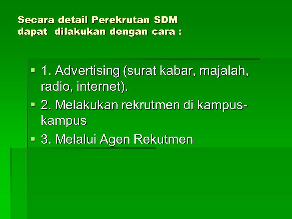 Secara detail Perekrutan SDM dapat dilakukan dengan cara :  1.