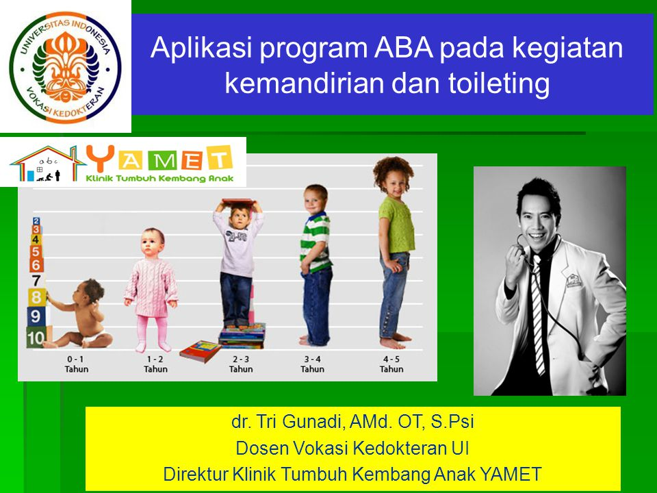 www.themegallery.com Aplikasi program ABA pada kegiatan kemandirian dan toileting dr. Tri Gunadi, AMd. OT, S.Psi Dosen Vokasi Kedokteran UI Direktur K