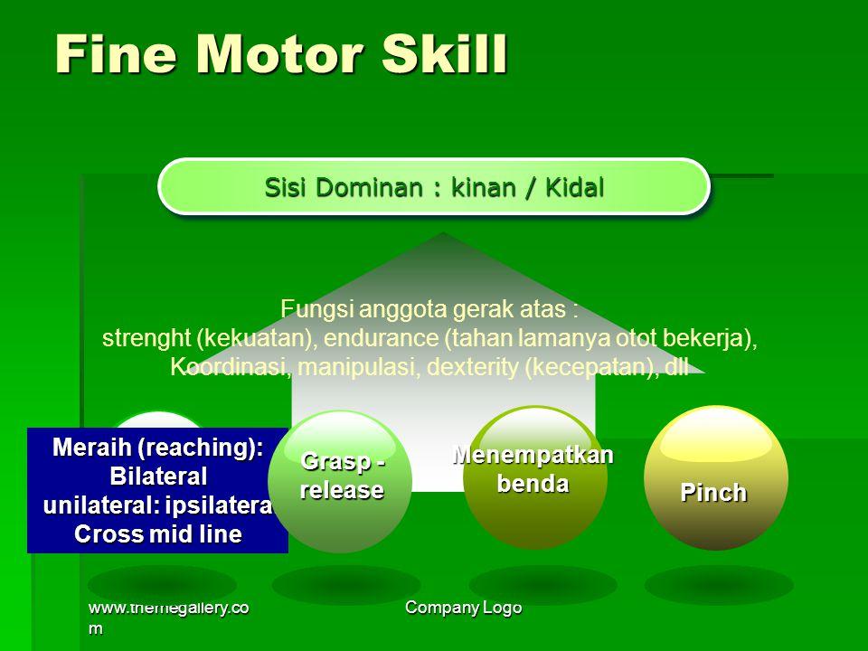 www.themegallery.co m Company Logo Fine Motor Skill Sisi Dominan : kinan / Kidal Fungsi anggota gerak atas : strenght (kekuatan), endurance (tahan lam