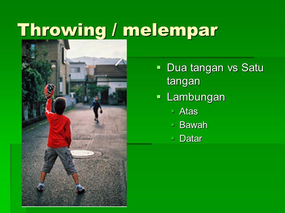 Throwing / melempar  Dua tangan vs Satu tangan  Lambungan  Atas  Bawah  Datar