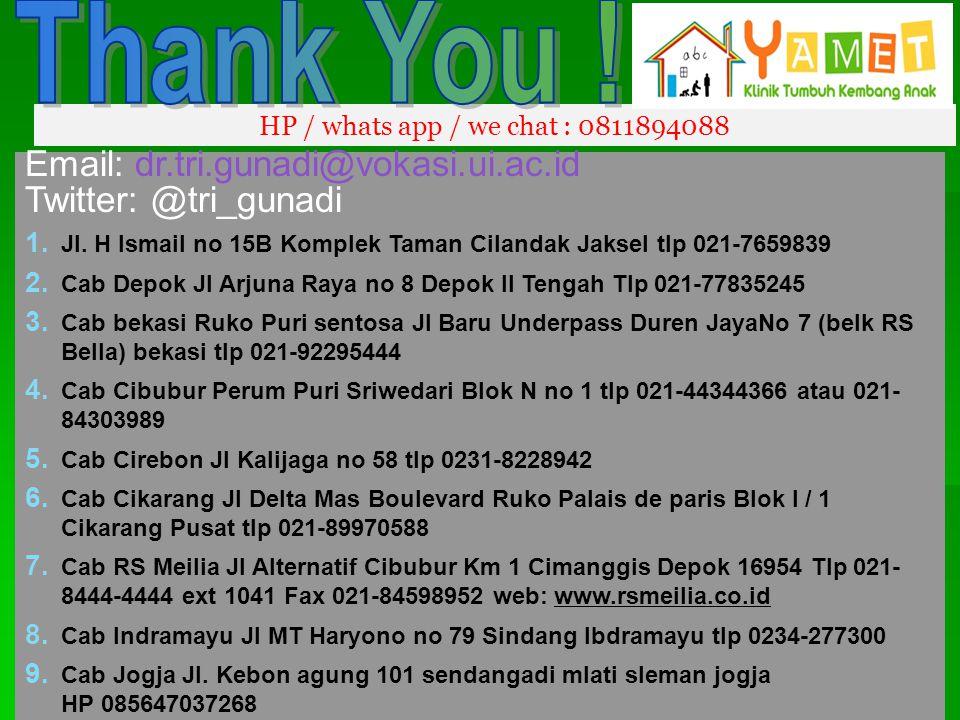 HP / whats app / we chat : 0811894088 Email: dr.tri.gunadi@vokasi.ui.ac.id Twitter: @tri_gunadi 1. Jl. H Ismail no 15B Komplek Taman Cilandak Jaksel t