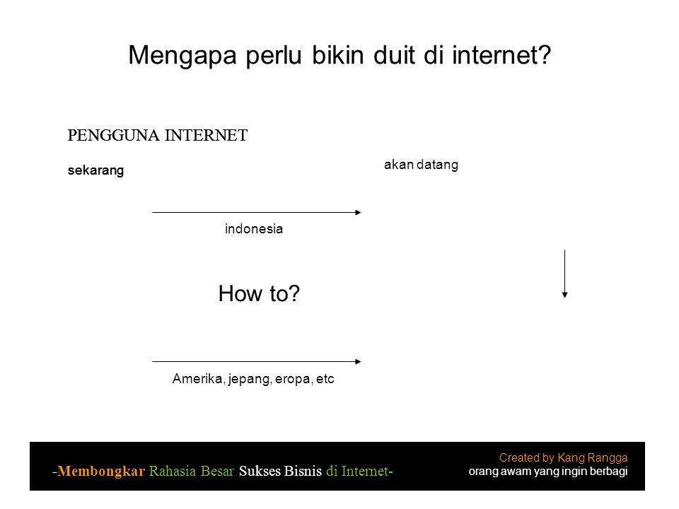 Mengapa perlu bikin duit di internet? indonesia How to? Amerika, jepang, eropa, etc 50% 99% sekarang akan datang Potensi pendapatan MENINGKAT, karena