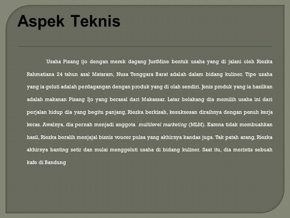 Usaha Pisang ijo dengan merek dagang JustMine bentuk usaha yang di jalani oleh Riezka Rahmatiana 24 tahun asal Mataram, Nusa Tenggara Barat adalah dal