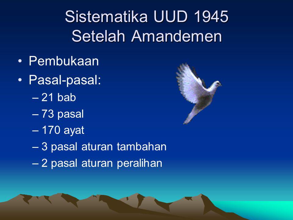 Sistematika UUD 1945 Setelah Amandemen Pembukaan Pasal-pasal: –21 bab –73 pasal –170 ayat –3 pasal aturan tambahan –2 pasal aturan peralihan