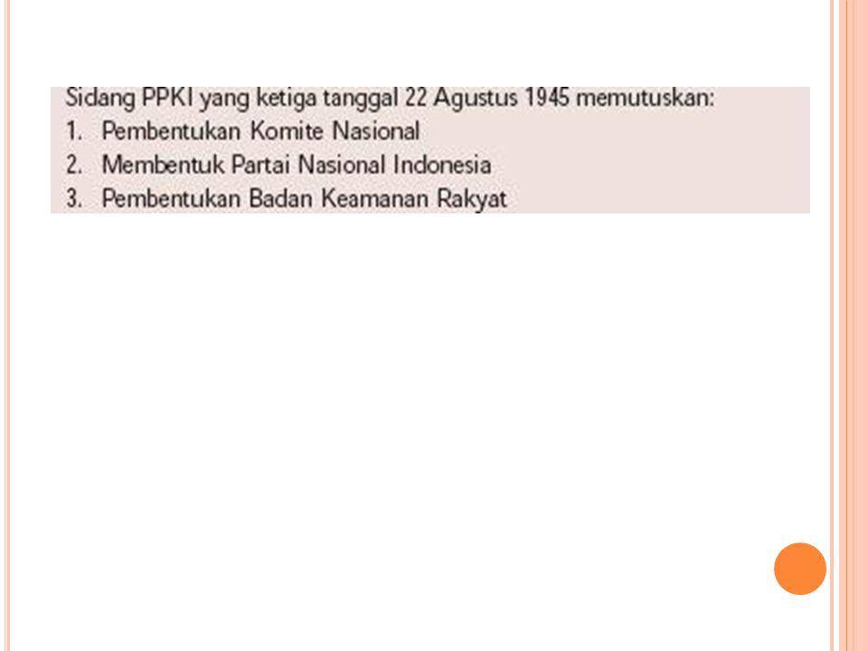 Pembentukan Komite Nasional 1.Komite Nasional Indonesia adalah badan yang akan berfungsi sebagai Dewan Perwakilan Rakyat (DPR) sebelum diselenggarakan Pemilihan Umum (Pemilu).