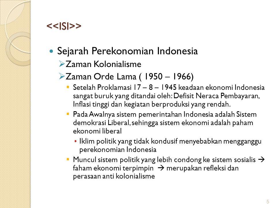 <<ISI>> Sejarah Perekonomian Indonesia  Zaman Kolonialisme  Zaman Orde Lama ( 1950 – 1966)  Setelah Proklamasi 17 – 8 – 1945 keadaan ekonomi Indone