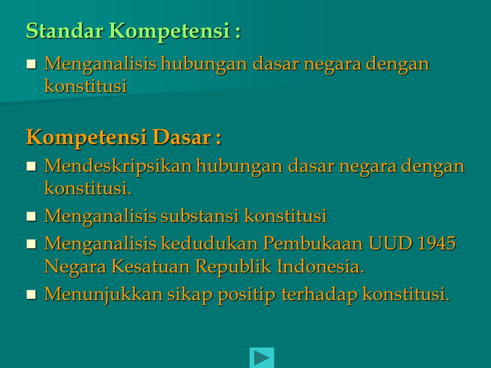 KOSNTITUSI DI INDONESIA NNKRI sekarang menggunakan UUD 1945 UUUD 1945 dirumuskan oleh BPUPKI pada sidang periode ke II (14-16 Juli 1945), dan disyahkan oleh PPKI pada tanggal 18 Agustus 1945 NNaskah resmi UUD 1945 dimuat dalam Berita Negara Republik Indonesia tahun ke II nomor 7 tanggal 15 Februari 1945.