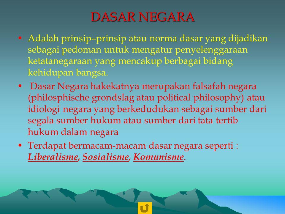 DASAR NEGARA REPUBLIK INDONESIA Dasar Negara Republik Indonesia adalah Pancasila.