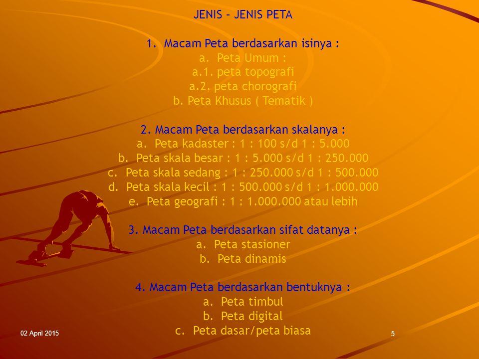 02 April 2015 5 JENIS – JENIS PETA 1.Macam Peta berdasarkan isinya : a.Peta Umum : a.1. peta topografi a.2. peta chorografi b. Peta Khusus ( Tematik )