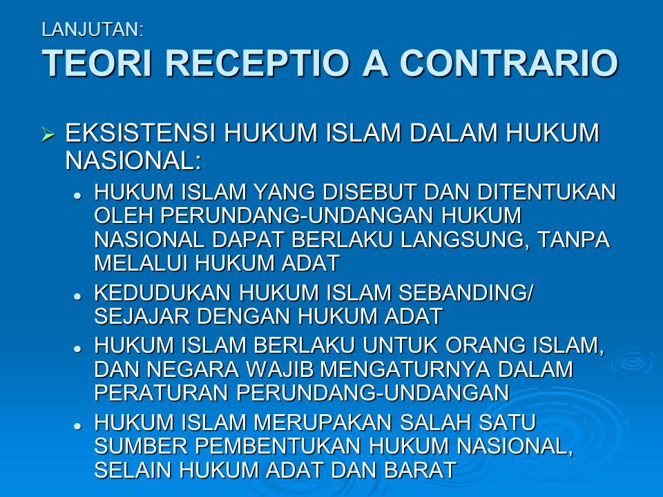 LANJUTAN: TEORI RECEPTIO A CONTRARIO  EKSISTENSI HUKUM ISLAM DALAM HUKUM NASIONAL: HUKUM ISLAM YANG DISEBUT DAN DITENTUKAN OLEH PERUNDANG-UNDANGAN HU