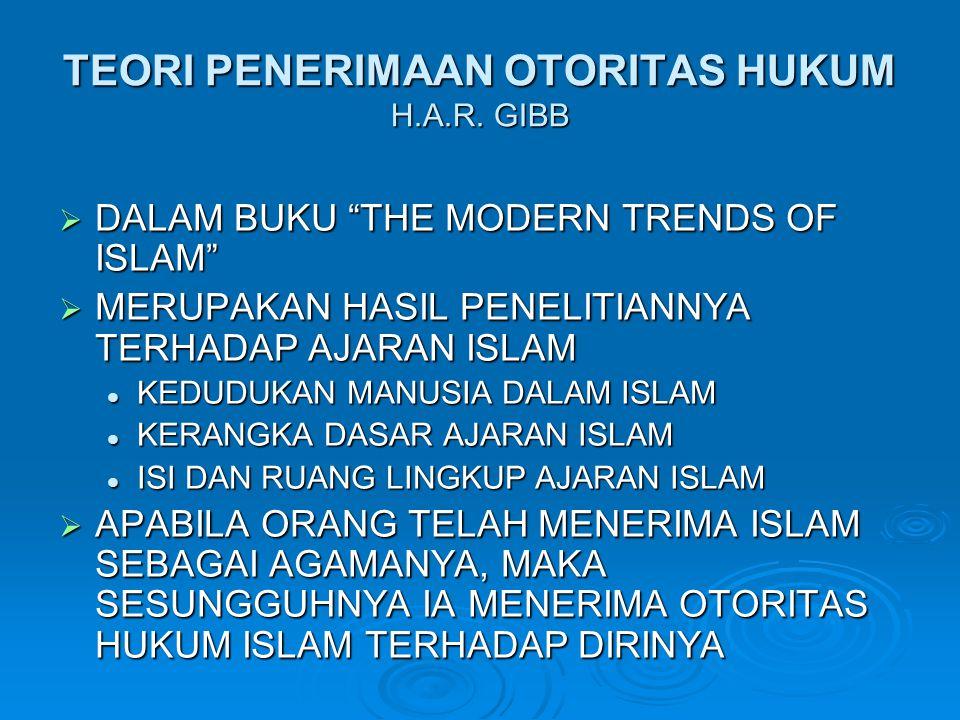 "TEORI PENERIMAAN OTORITAS HUKUM H.A.R. GIBB  DALAM BUKU ""THE MODERN TRENDS OF ISLAM""  MERUPAKAN HASIL PENELITIANNYA TERHADAP AJARAN ISLAM KEDUDUKAN"