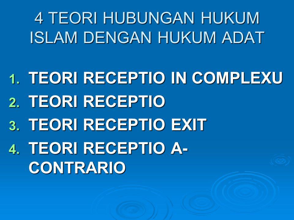 4 TEORI HUBUNGAN HUKUM ISLAM DENGAN HUKUM ADAT 1. TEORI RECEPTIO IN COMPLEXU 2. TEORI RECEPTIO 3. TEORI RECEPTIO EXIT 4. TEORI RECEPTIO A- CONTRARIO