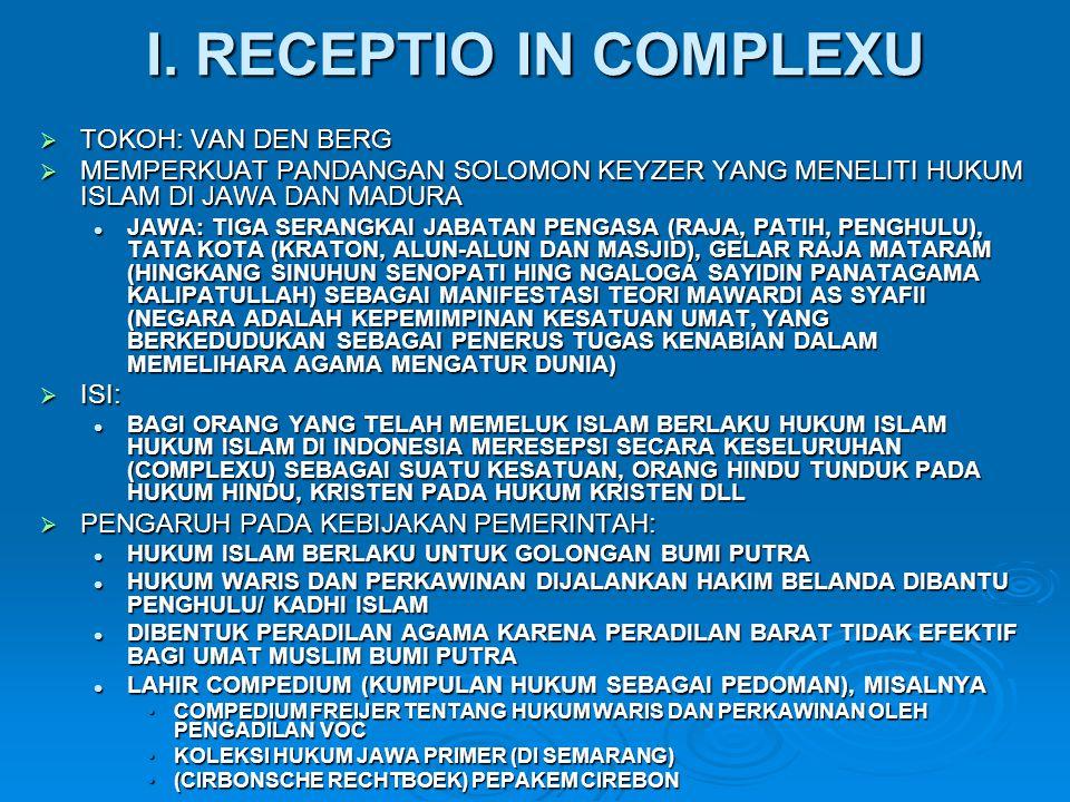 I. RECEPTIO IN COMPLEXU  TOKOH: VAN DEN BERG  MEMPERKUAT PANDANGAN SOLOMON KEYZER YANG MENELITI HUKUM ISLAM DI JAWA DAN MADURA JAWA: TIGA SERANGKAI