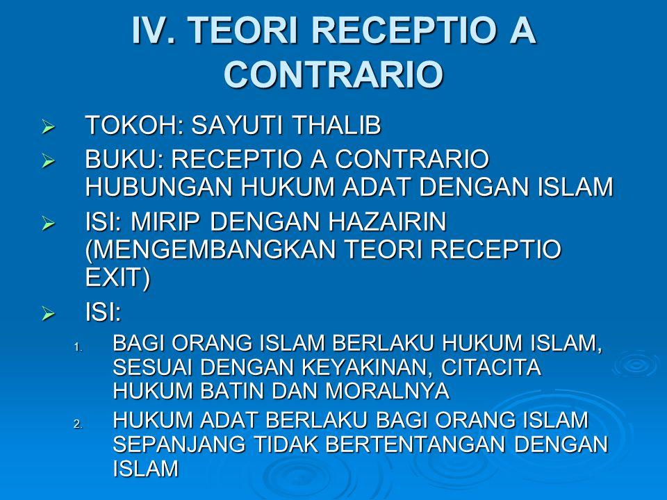 IV. TEORI RECEPTIO A CONTRARIO  TOKOH: SAYUTI THALIB  BUKU: RECEPTIO A CONTRARIO HUBUNGAN HUKUM ADAT DENGAN ISLAM  ISI: MIRIP DENGAN HAZAIRIN (MENG