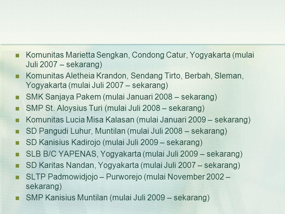 SD Kanisius Pijenan (mulai Januari 2010 – sekarang) SD Pangudi Luhur III & IV Yogyakarta (mulai Juli 2009 – sekarang) SMK Dominikus Wonosari (mulai Juli 2009 – sekarang) SD Pius Sidareja, Cilacap (mulai Januari 2010 – sekarang) SD Katholik St.