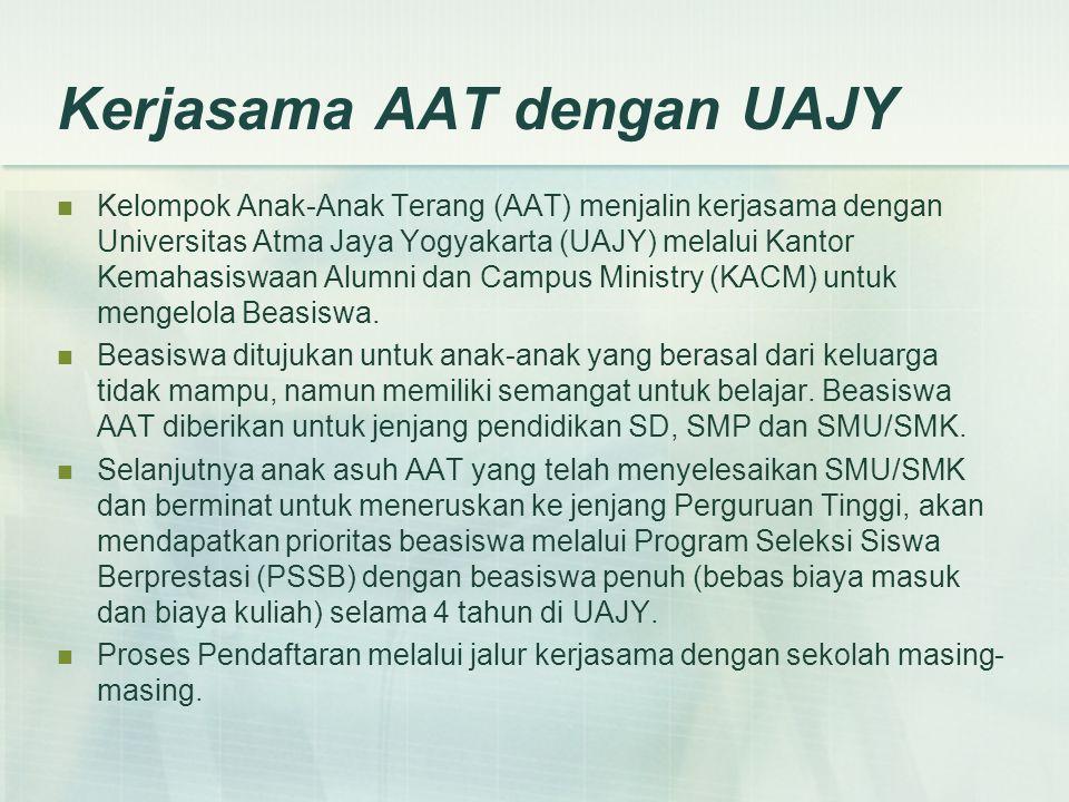Kerjasama AAT dengan UAJY Kelompok Anak-Anak Terang (AAT) menjalin kerjasama dengan Universitas Atma Jaya Yogyakarta (UAJY) melalui Kantor Kemahasiswa