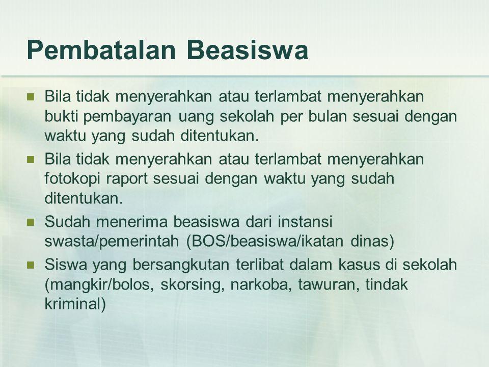 Penyerahan Berkas dan Seleksi Proposal permohonan beasiswa disampaikan paling lambat 31 Oktober 2011.