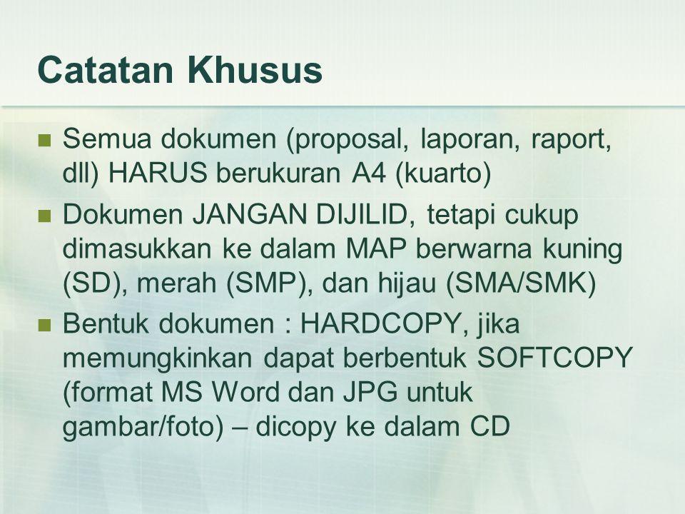 Catatan Khusus Semua dokumen (proposal, laporan, raport, dll) HARUS berukuran A4 (kuarto) Dokumen JANGAN DIJILID, tetapi cukup dimasukkan ke dalam MAP