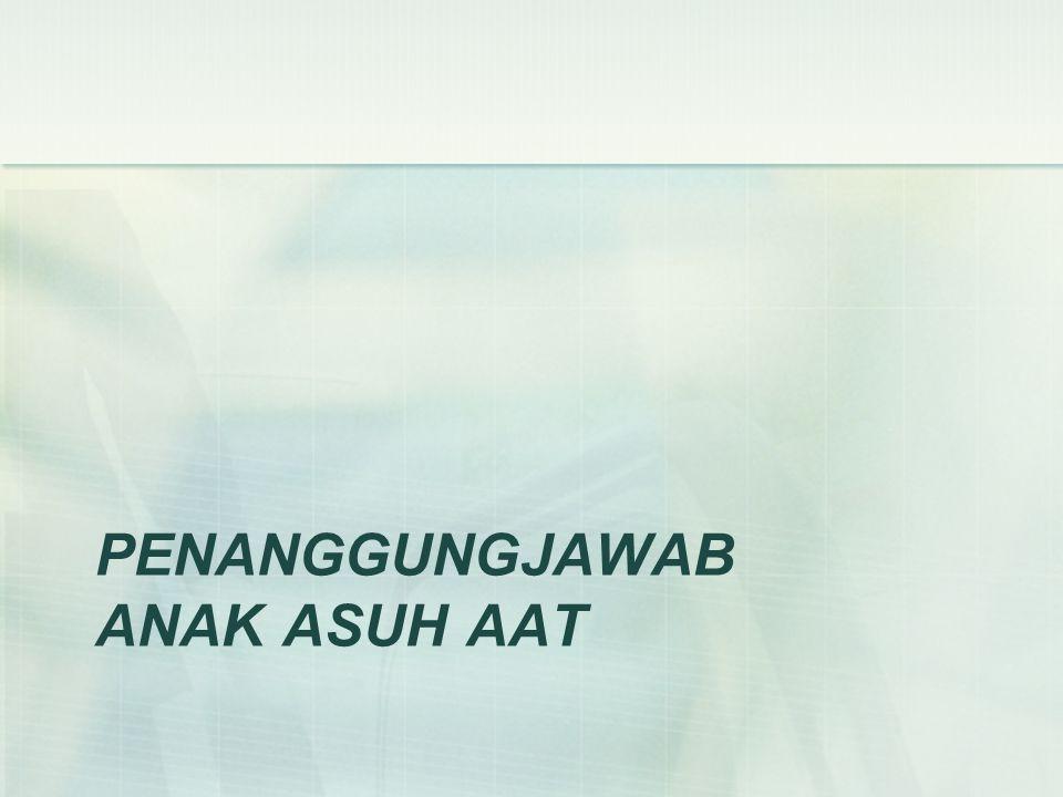 Persyaratan Umum Penanggungjawab anak asuh AAT adalah orang yang mengajukan proposal bantuan beasiswa dan kenal secara pribadi keadaan calon anak asuh serta menjalankan perannya sebagai penghubung antara Anak-Anak Terang (AAT) dan anak asuh.