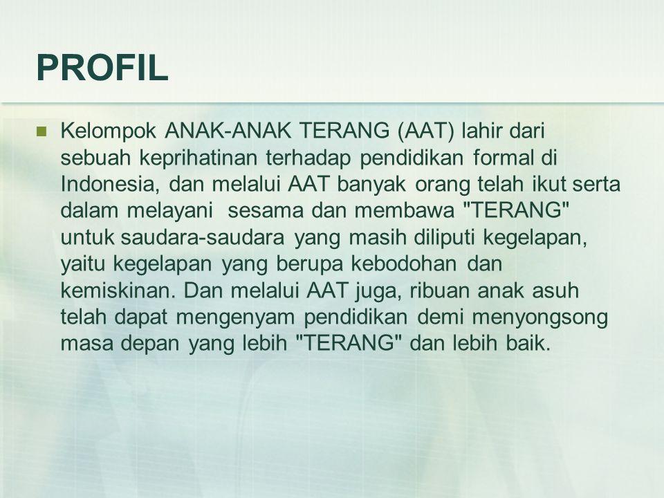 PROFIL Kelompok ANAK-ANAK TERANG (AAT) lahir dari sebuah keprihatinan terhadap pendidikan formal di Indonesia, dan melalui AAT banyak orang telah ikut