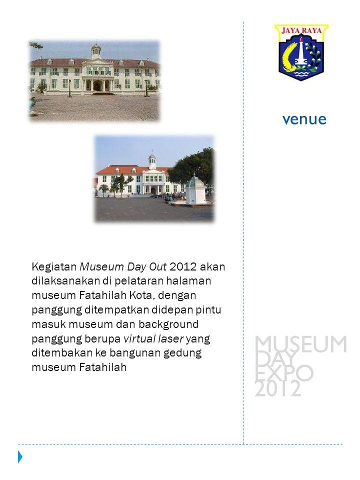 Kegiatan Museum Day Out 2012 akan dilaksanakan di pelataran halaman museum Fatahilah Kota, dengan panggung ditempatkan didepan pintu masuk museum dan
