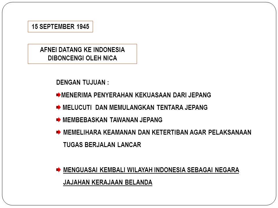 15 SEPTEMBER 1945 AFNEI DATANG KE INDONESIA DIBONCENGI OLEH NICA DENGAN TUJUAN : MENERIMA PENYERAHAN KEKUASAAN DARI JEPANG MELUCUTI DAN MEMULANGKAN TE