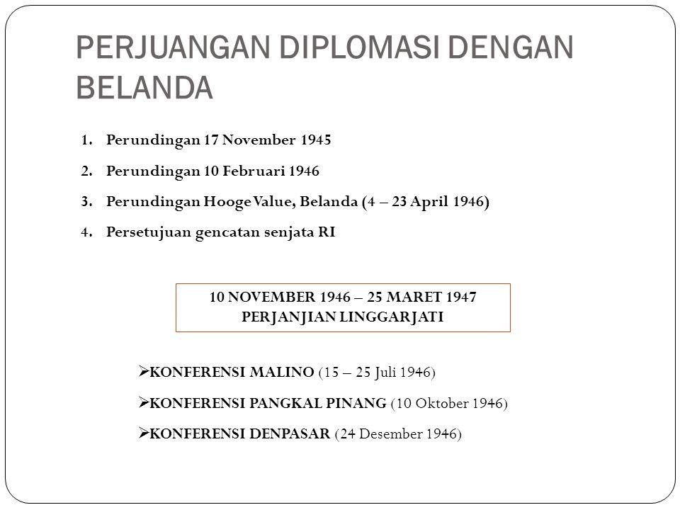 PERJUANGAN DIPLOMASI DENGAN BELANDA 1.Perundingan 17 November 1945 2.Perundingan 10 Februari 1946 3.Perundingan Hooge Value, Belanda (4 – 23 April 194