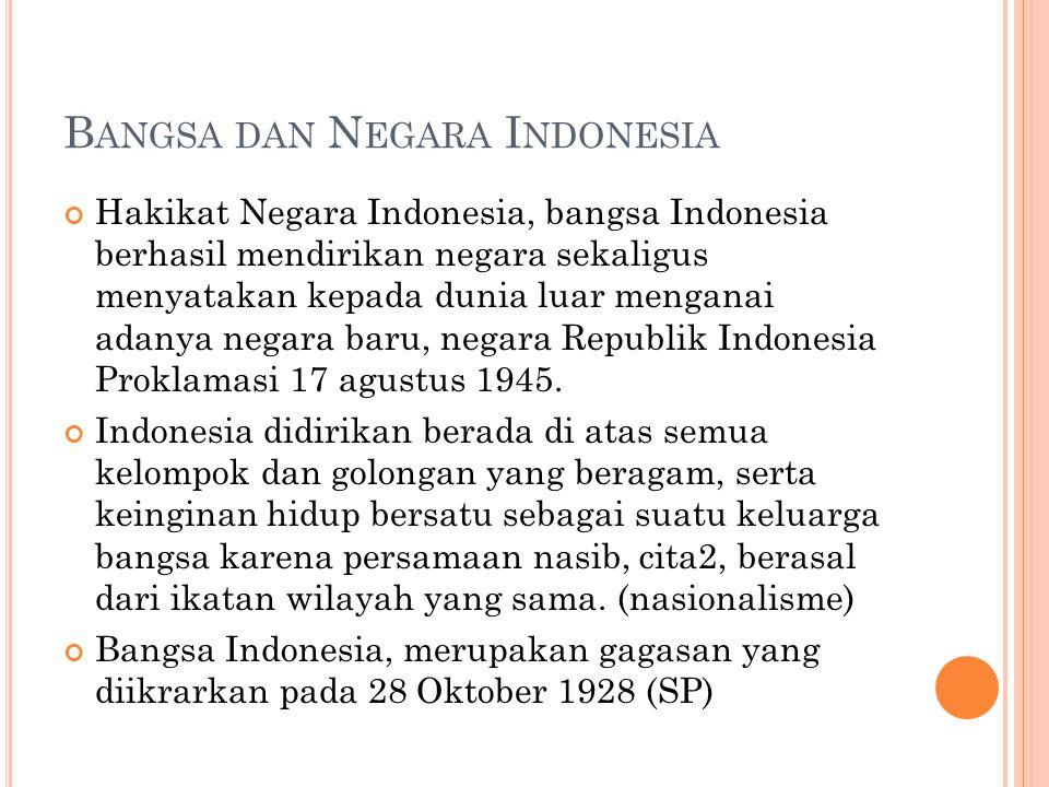 B ANGSA DAN N EGARA I NDONESIA Hakikat Negara Indonesia, bangsa Indonesia berhasil mendirikan negara sekaligus menyatakan kepada dunia luar menganai adanya negara baru, negara Republik Indonesia Proklamasi 17 agustus 1945.