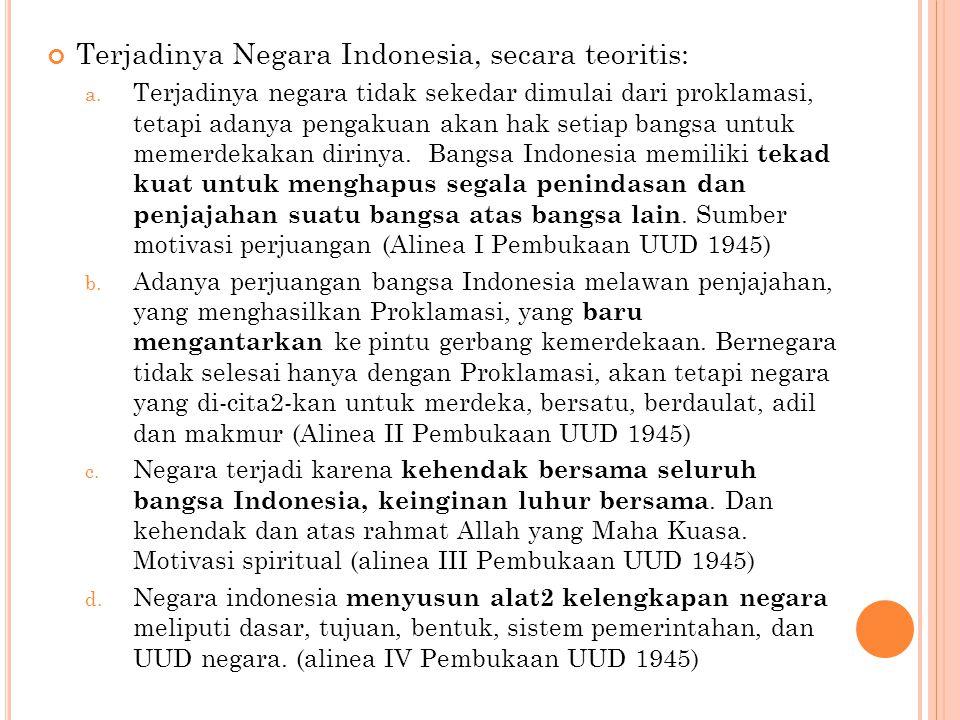 Terjadinya Negara Indonesia, secara teoritis: a.