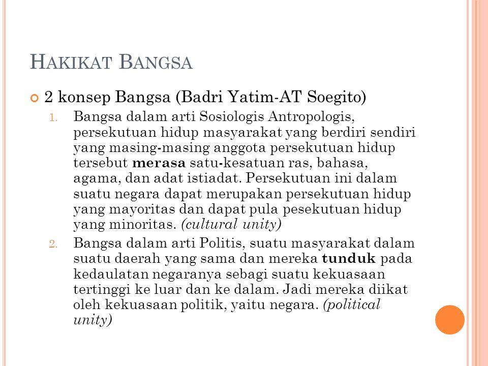 H AKIKAT B ANGSA 2 konsep Bangsa (Badri Yatim-AT Soegito) 1.