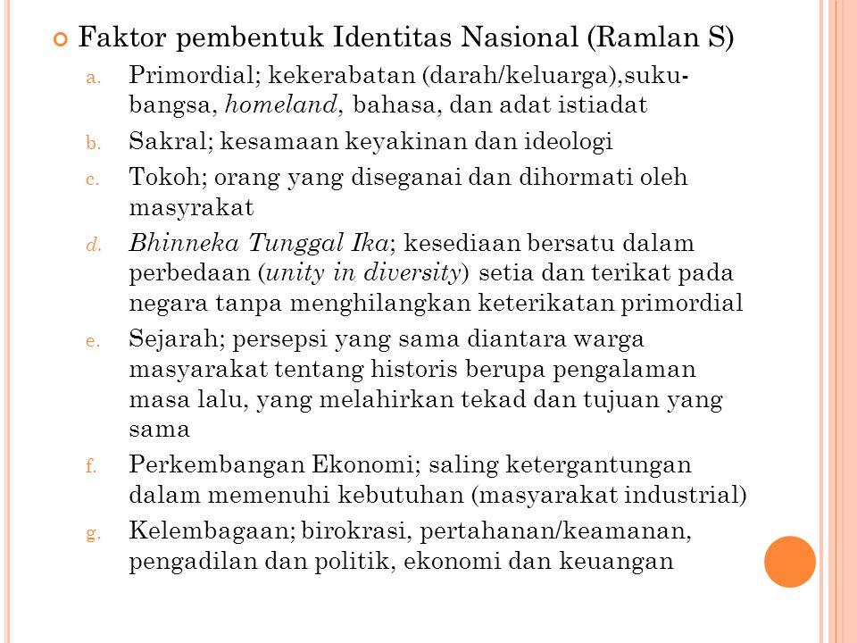 Faktor pembentuk Identitas Nasional (Ramlan S) a.