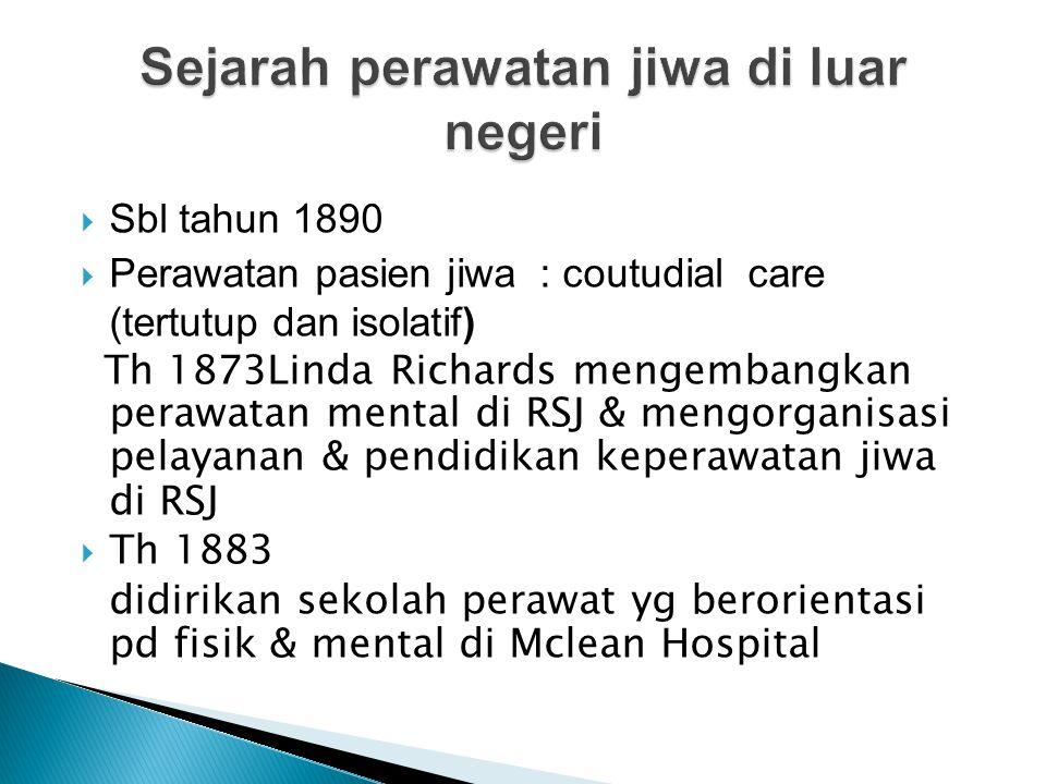  Sbl tahun 1890  Perawatan pasien jiwa : coutudial care (tertutup dan isolatif) Th 1873Linda Richards mengembangkan perawatan mental di RSJ & mengor