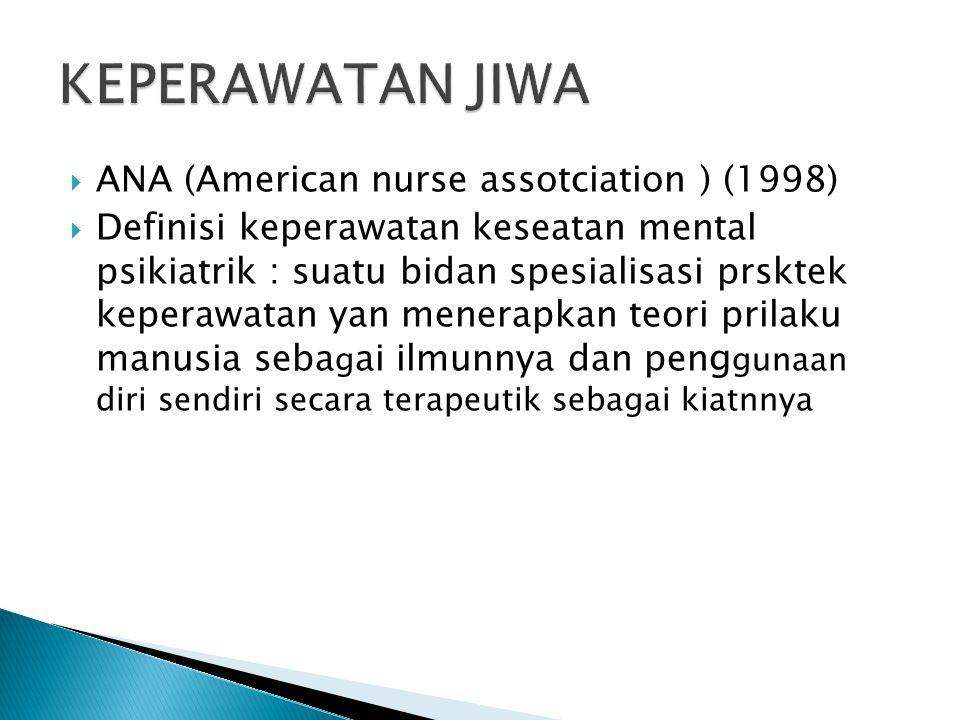  ANA (American nurse assotciation ) (1998)  Definisi keperawatan keseatan mental psikiatrik : suatu bidan spesialisasi prsktek keperawatan yan mener