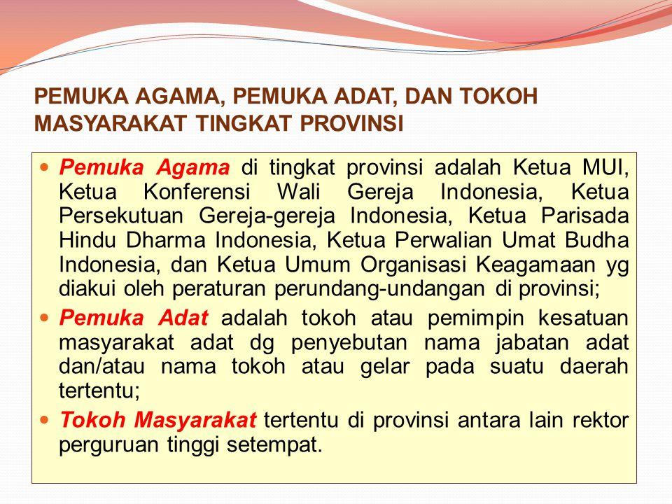 PEMUKA AGAMA, PEMUKA ADAT, DAN TOKOH MASYARAKAT TINGKAT PROVINSI Pemuka Agama di tingkat provinsi adalah Ketua MUI, Ketua Konferensi Wali Gereja Indon