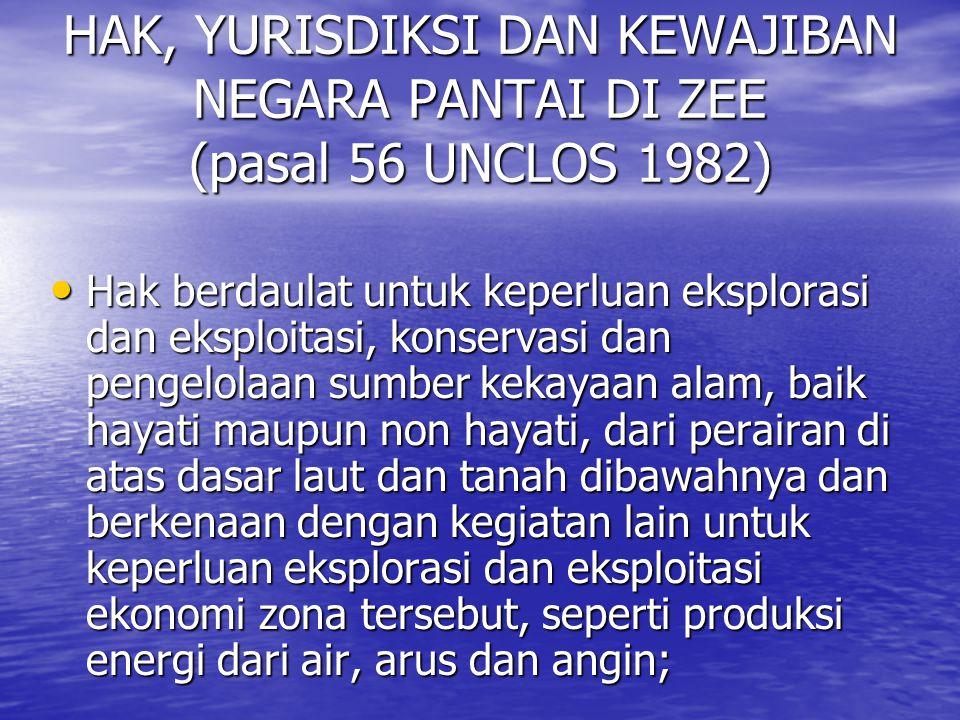 HAK, YURISDIKSI DAN KEWAJIBAN NEGARA PANTAI DI ZEE (pasal 56 UNCLOS 1982) Hak berdaulat untuk keperluan eksplorasi dan eksploitasi, konservasi dan pen