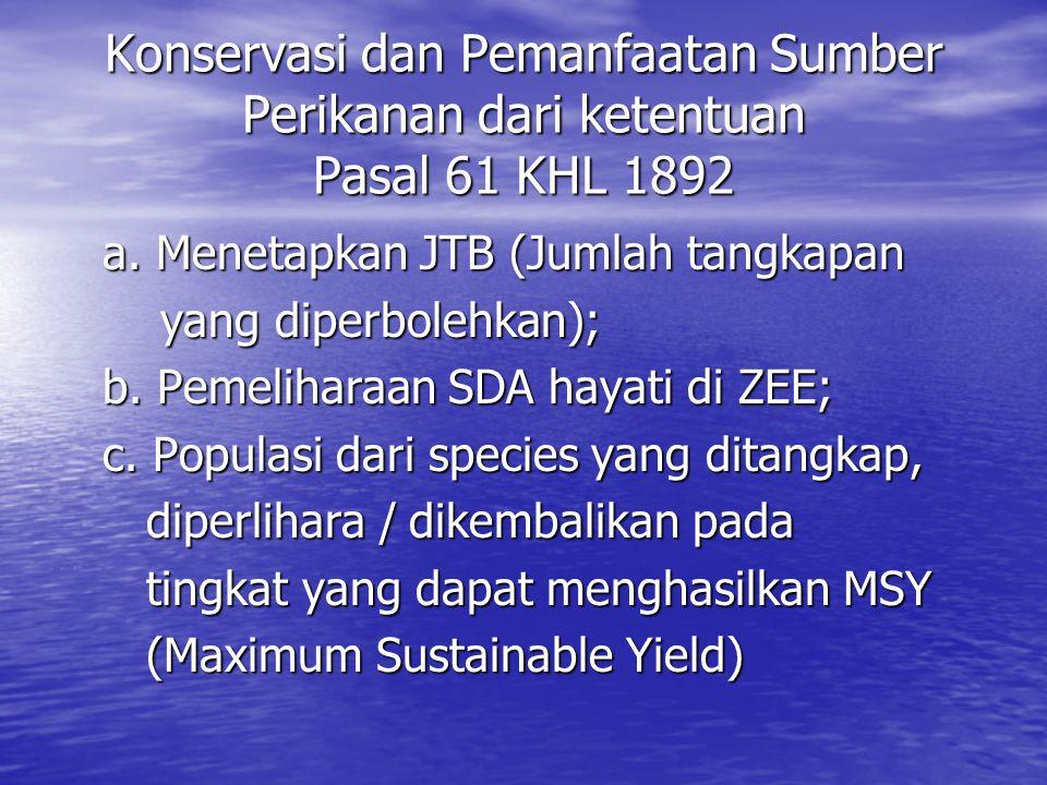 Konservasi dan Pemanfaatan Sumber Perikanan dari ketentuan Pasal 61 KHL 1892 a. Menetapkan JTB (Jumlah tangkapan yang diperbolehkan); yang diperbolehk