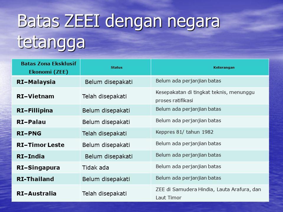 Batas ZEEI dengan negara tetangga Batas Zona Eksklusif Ekonomi (ZEE) StatusKeterangan RI–Malaysia Belum disepakati Belum ada perjanjian batas RI–Vietn