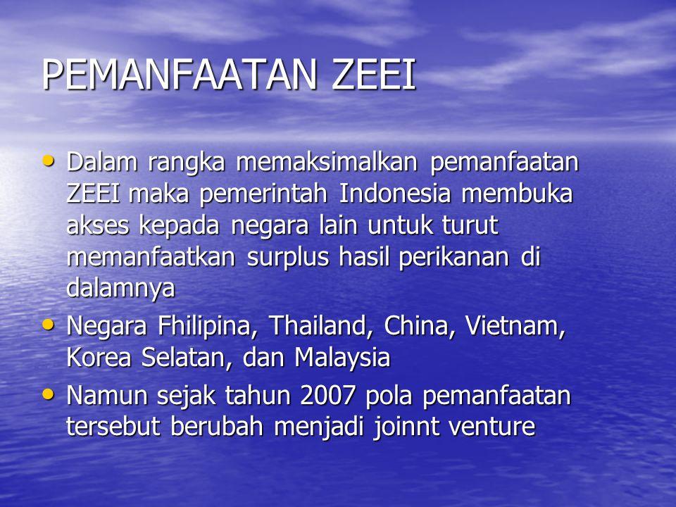 PEMANFAATAN ZEEI Dalam rangka memaksimalkan pemanfaatan ZEEI maka pemerintah Indonesia membuka akses kepada negara lain untuk turut memanfaatkan surpl