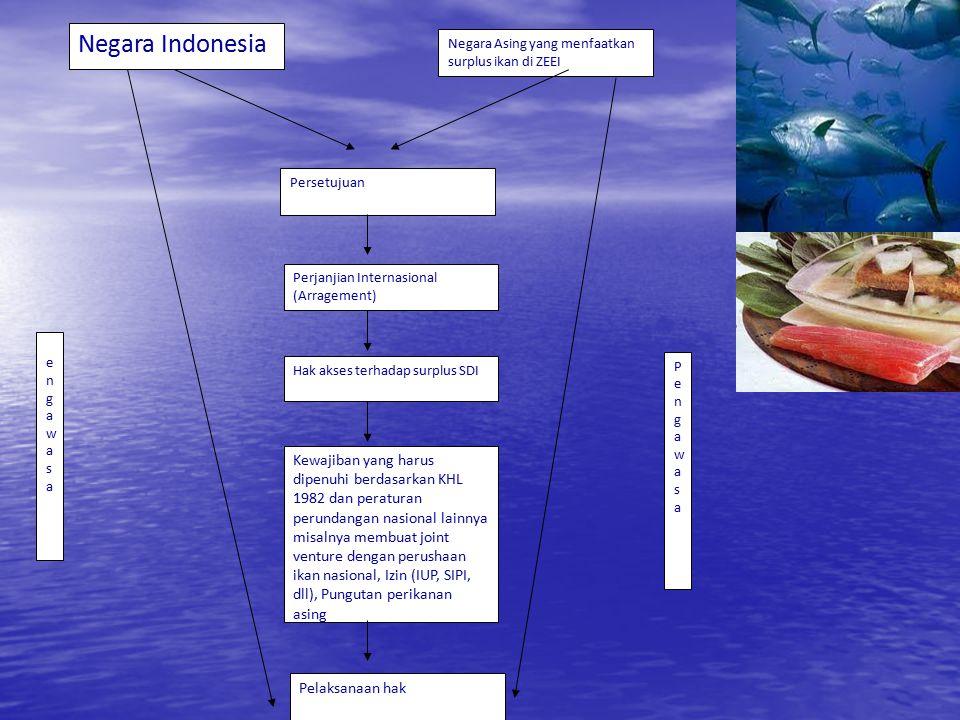 Negara Indonesia Negara Asing yang menfaatkan surplus ikan di ZEEI Persetujuan Perjanjian Internasional (Arragement) PengawasanPengawasan Kewajiban ya