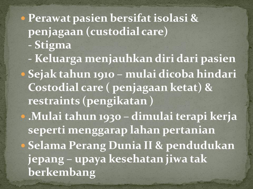 Proklamasi – perkembangan baru - Oktober 1947 pemerintah membentuk Jawatan Urusan Penyakit Jiwa ( belum bekerja dengan baik) - Tahun 1950 pemerintah memperingatkan Jawatan Urusan Penyakit Jiwa – meningkatkan penyelenggaraan pelayanan, dibawah Depkes