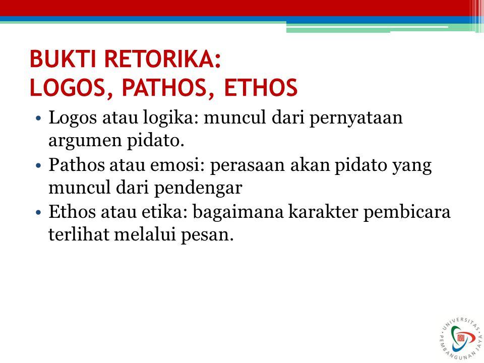 BUKTI RETORIKA: LOGOS, PATHOS, ETHOS Logos atau logika: muncul dari pernyataan argumen pidato. Pathos atau emosi: perasaan akan pidato yang muncul dar
