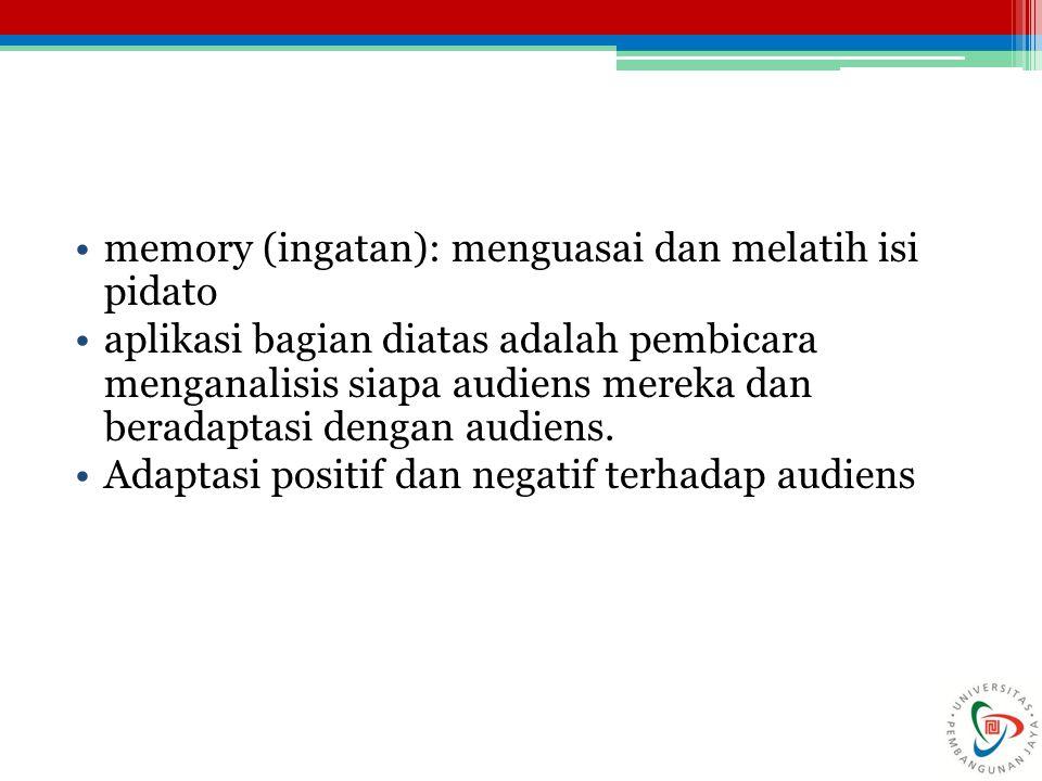 memory (ingatan): menguasai dan melatih isi pidato aplikasi bagian diatas adalah pembicara menganalisis siapa audiens mereka dan beradaptasi dengan au