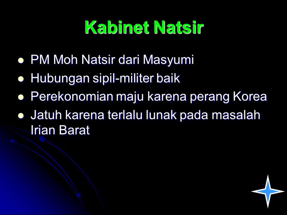 Kabinet Natsir PM Moh Natsir dari Masyumi PM Moh Natsir dari Masyumi Hubungan sipil-militer baik Hubungan sipil-militer baik Perekonomian maju karena