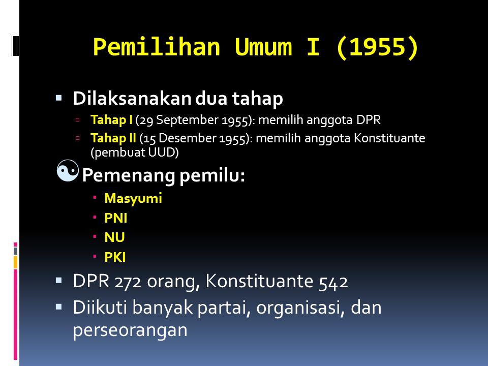 Pemilihan Umum I (1955)  Dilaksanakan dua tahap  Tahap I (29 September 1955): memilih anggota DPR  Tahap II (15 Desember 1955): memilih anggota Kon