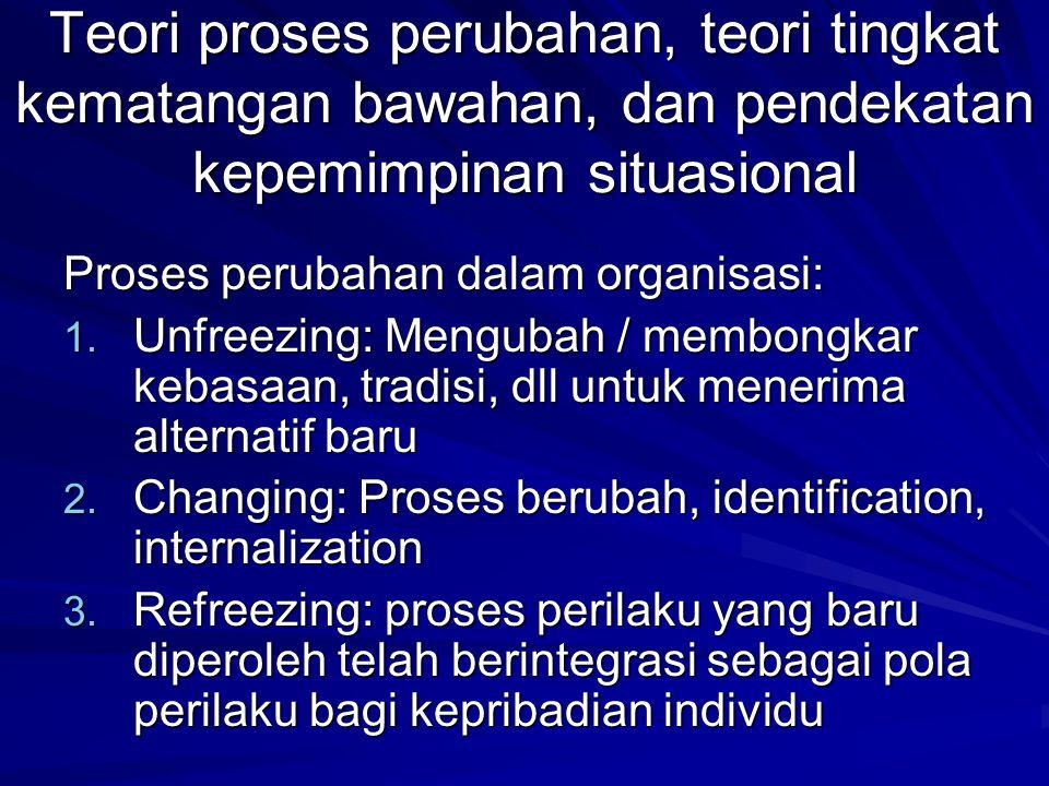 Teori proses perubahan, teori tingkat kematangan bawahan, dan pendekatan kepemimpinan situasional Proses perubahan dalam organisasi: 1.